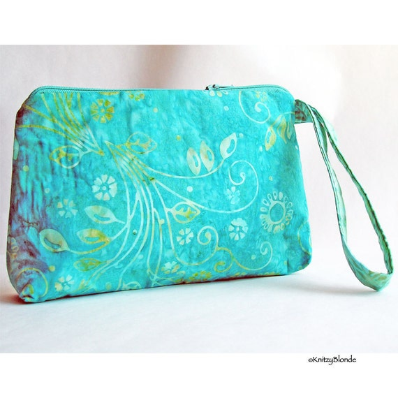 Cosmetics Bag, Knitting Notions Pouch, Turquoise Aqua Green Batik Cotton, Zipper Wrist Strap