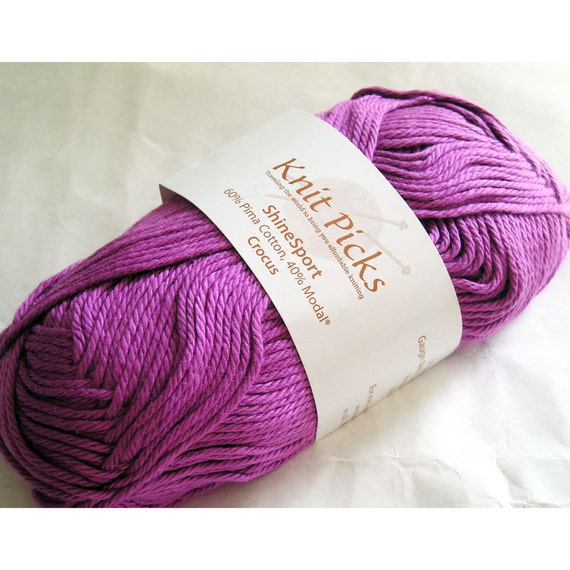 Knit Picks Yarn, Shine Sport, Pima Cotton Modal, Crocus, Fuchsia Pink Purple Violet