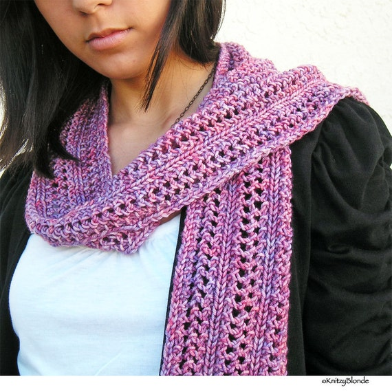 Lacy Fashion Scarf, Hand Knit Premium Hand Dyed Merino Wool Cashmere, Dusty Rose Lavender Mauve