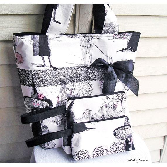 Knitting Tote Bag, The Ghastlies, 2 Matching Zipper Pouches, SET, Handbag Black White