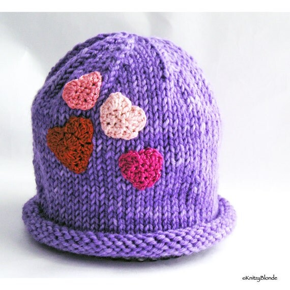 Cloche Baby Hat, Photo Prop, Violet Hand Dyed Merino Wool, Red Pink Fuchsia Valentines Hearts