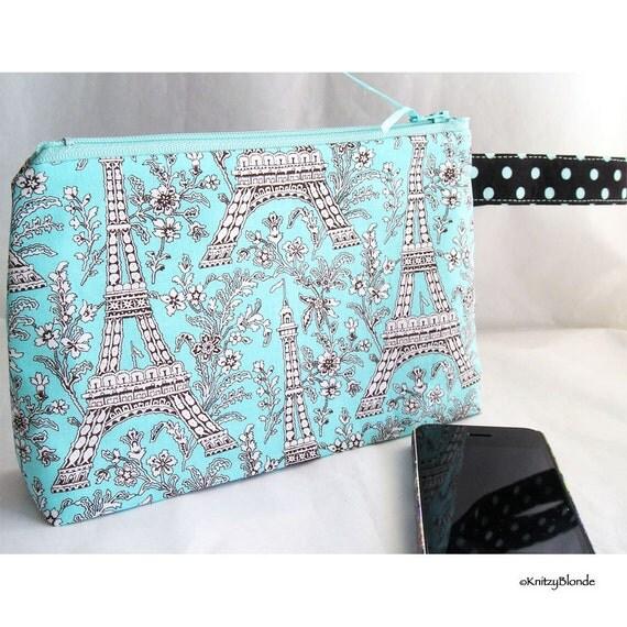 Cosmetics Bag, Zipper Pouch, Project Bag, Aqua & Brown Eiffel Tower Print Polka Dots