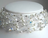 White Wedding - Deluxe PEARL and CRYSTAL Sterling Silver Elegant Wirework Choker