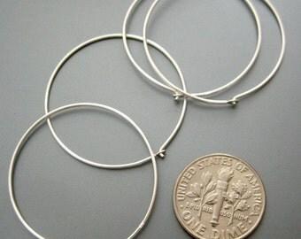 10 pcs (5 pairs) 30mm 21 gauge Sterling Silver hoop earwires (ESS505)