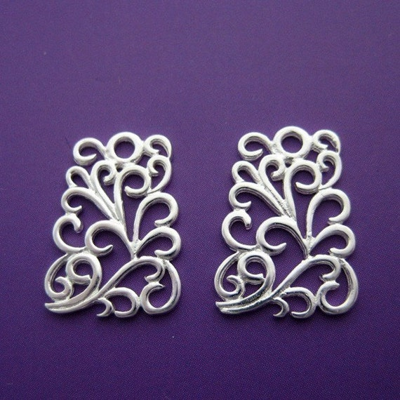 2 pc 16mm sterling silver fancy filigree square vine pattern charm pendant (BSS110)