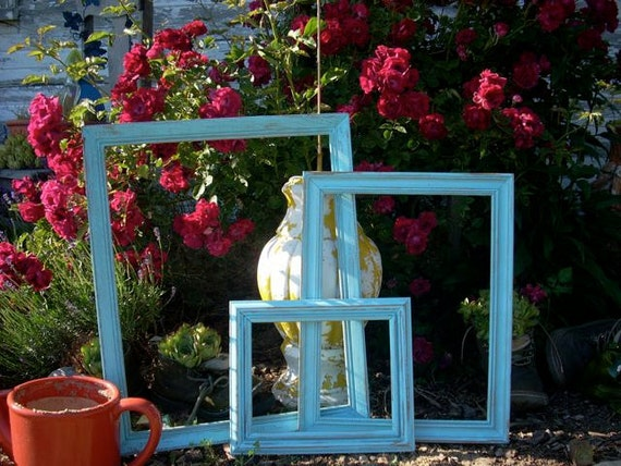 Wood Painted Distressed Frames Lot of Three Light Blue