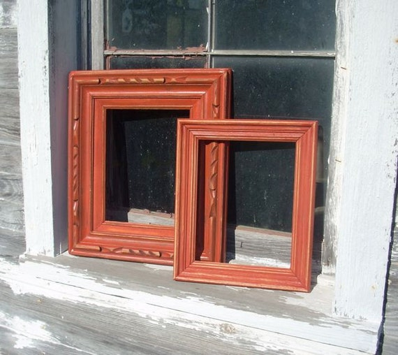 Red Painted Distressed Wood Frames Lot of Two Wall Decor