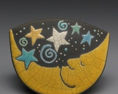Moon,Stars,Celestial, rocking, clay, ceramic, pottery,handmade,raku fired clay,baby gift,paperweight,home decor