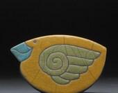 Ceramic Bird, yellow gold, Raku Rocking bird,Whimsical Sculpture,home decor