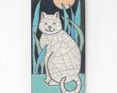 Cat,Ceramic tile, Cat in the garden, a 3x6 in. raku fired art tile, handmade