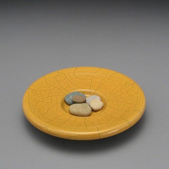 ceramic bowl, golden yellow,handmade,Meditation Bowl ,Raku Fired.....to display your beach stone collection