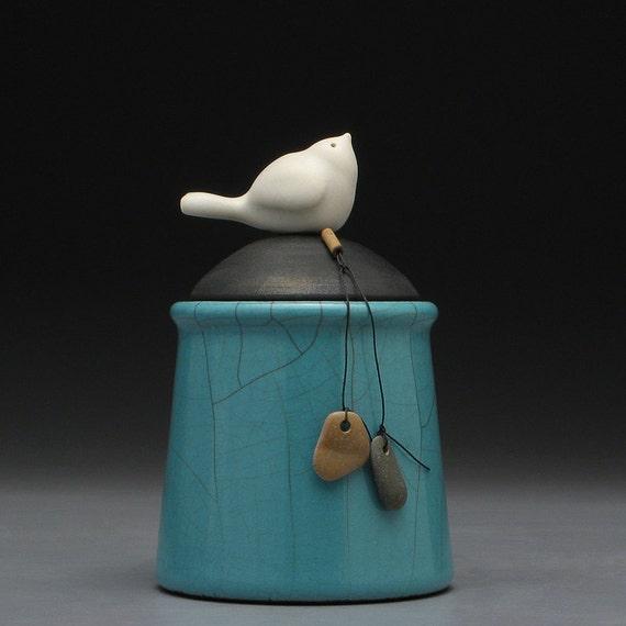 Ceramic jar with bird, Turquoise, raku fired art pottery,handmade