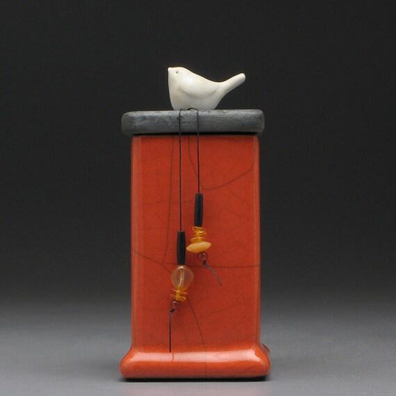 Bird,  red orange box, ceramic Raku Fired Box, handmade treasure box,home decor