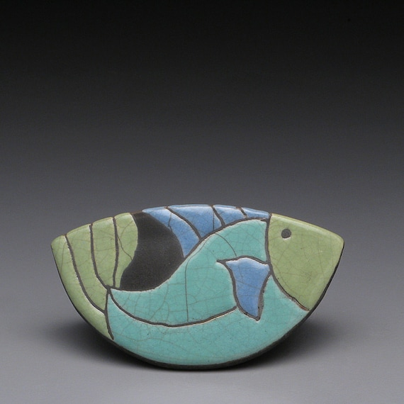 A Rocking Fish, raku fired clay