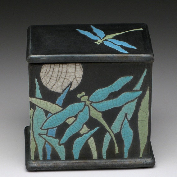 Dragonfly raku box,ceramic box,handmade, treasure box, turquoise,green