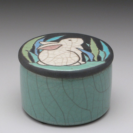 Rabbit Box, a round handmade raku fired clay box, trinket box,treasure box,home decor