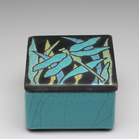 Box,dragonfly,ceramic,pottery handmade, raku,trinket box,home decor