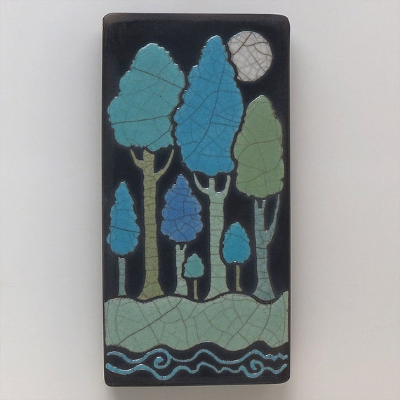Full moon and the trees,handmade ceramic tile,a 3x6 raku fired art tile, wall art, clay