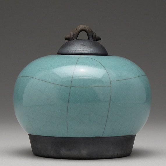 Ceramic Jar with lid,  Green, Raku fired art pottery,home decor, handmade