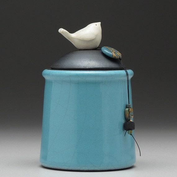 Ceramic Bird jar,turquoise handmade pottery jar ,home decor,Little Clay Bird on Jar, raku fired art pottery, handmade jar with lid