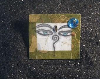 Handmade Natural Fiber Soft Eyes Pendant and Pin