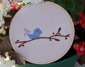 Wall Art - Embroidered Bird on a Branch