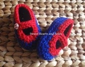 Littlest Sports Fan Blue and Red Baseball Baby Janes 0-3 Months - free shipping included!