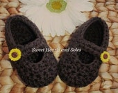 Autumn Sunflower Brown Baby Mary Janes 0-3 Months - free shipping included!