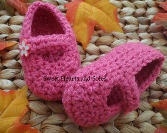 Pink Blossom Baby Mary Janes - 3-6 Months