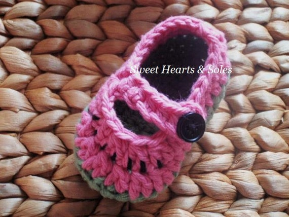 Wee Watermelon Pink & Green Cotton Baby Mary Janes 0-3 Months