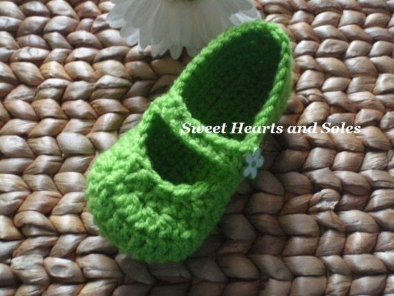 Bright Green Flower Fairy Belle Toddler Slippers - Size 5