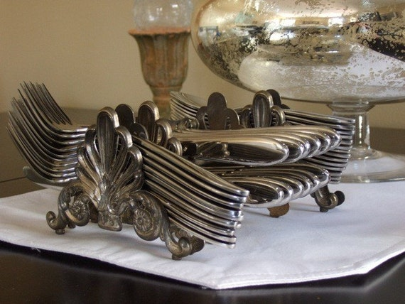 Vintage Silver Plated Flatware Holder Set For Buffet Table