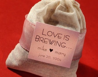 Love is Brewing Tea Bag wedding shower party favor unassembled