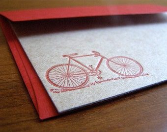 Letterpress Stationery with Bicycle Motif - Red set of 4