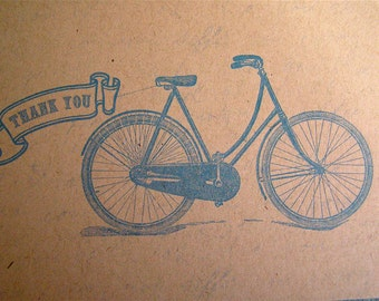 100 Thank You Note - Bicycle Postcard in Blue - Vintage Inspired