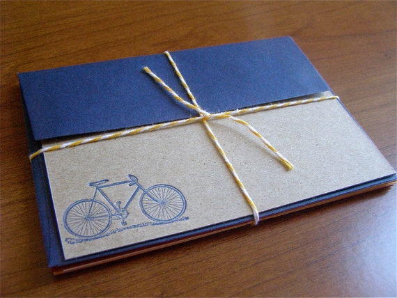 Letterpress Stationery with Bicycle Motif - Blue set of 4