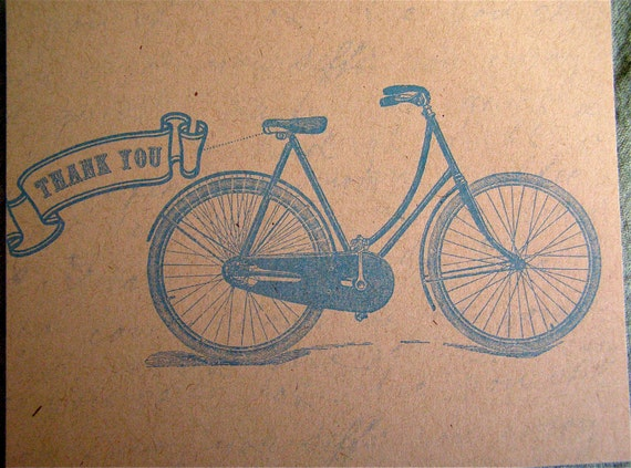 75 Thank You Note - Bicycle Postcard in Blue - Vintage Inspired