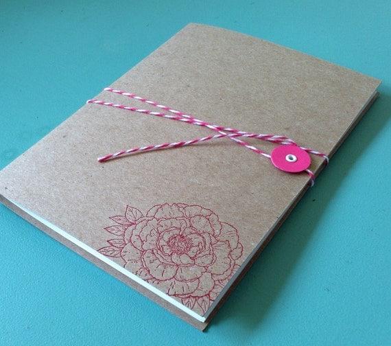 Bakers Twine Letterpress Peony Flower Journal Notebook
