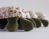 Turtle, floral patchwork, soft velour turtle with floral fabric shell,toy,unisex