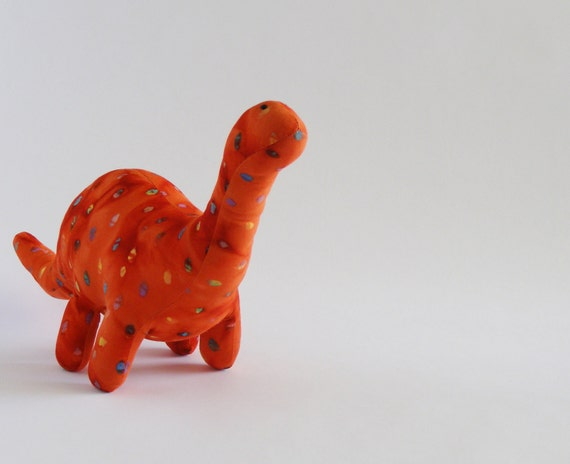 orange batik apatosaurus stuffed animal - baby safe