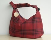Last one available - Red Plaid Purse - Zipper Hobo Bag - Barn Red- Navy Plaid (no9)