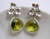 Silver Cherry Blossom Earrings - Bridesmaid Earrings - Cherry Blossom and Apple Green Czech Glass