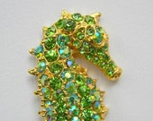 Sea Horse Hair Clip - Peridot Green - Swarovski Crystal - Rhinestone Clip - Bridesmaid - Gift - Wedding