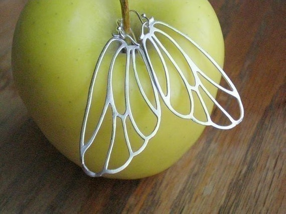Matte White Gold Butterfly Wing Earrings