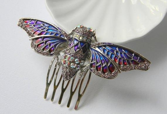 Cicada Hair Comb - Insect Comb - Pink Blue and Purple Enamel Comb - Swarovski Rhinestone Comb - Bug Comb - Original