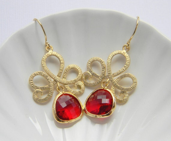 Bridesmaid Earrings - Gold Lotus Swirl with Ruby Red Earrings - Czech Glass - Gift - Bohemian - Boho
