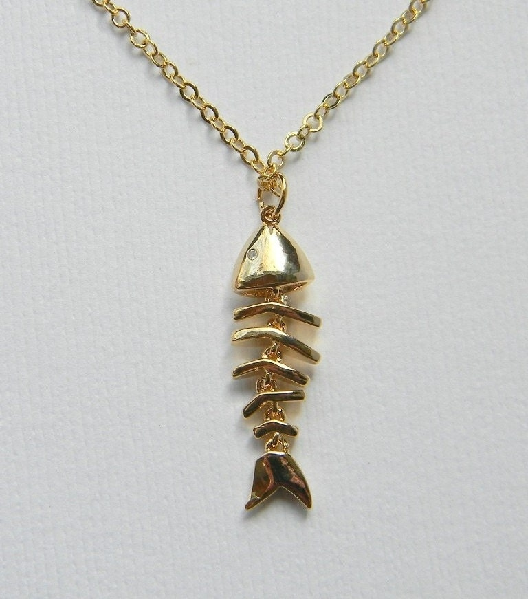 gold fish necklace fish bone necklace boho chic bohemian