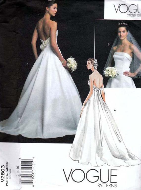 Vogue Bridal Original Wedding Dress Pattern 2803 UNCUT