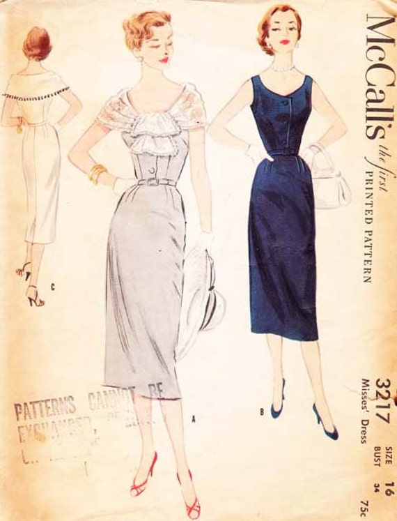 Vintage 1950s Wiggle  Dress Pattern, with Detachable Cape  McCalls  3217