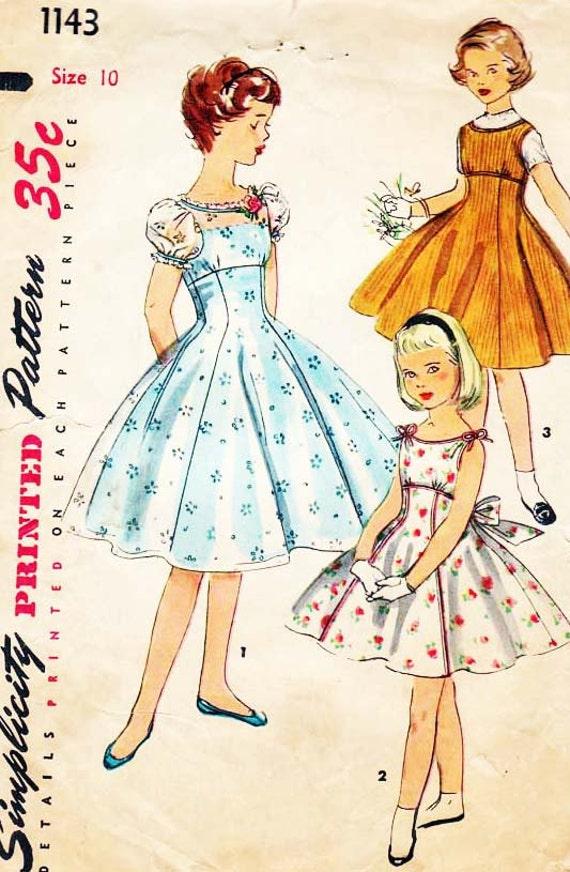50s Girls Empire Dress, Simplicity 1143 Vintage Pattern